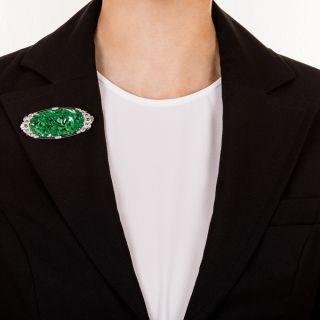Art Deco Carved Jade Art Deco Pin / Pendant