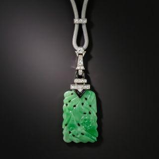 Art Deco Carved Jade Diamond and Onyx Pendant - 2