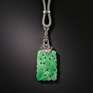 Art Deco Carved Jade Diamond and Onyx Pendant