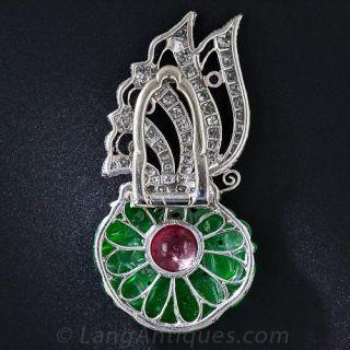 Art Deco Carved Jade, Diamond, Ruby and Onyx Clip
