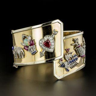 Art Deco Charm Bangle Bracelet - 1
