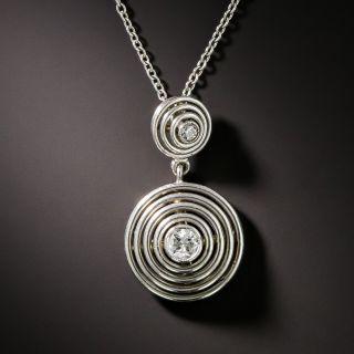 Art Deco Circular Diamond Drop Pendant - 2