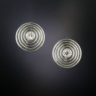 Art Deco Circular Diamond Stud Earrings - 2