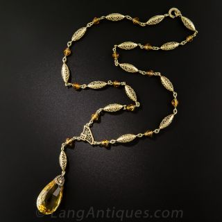 Art Deco Citrine Drop Necklace - 3