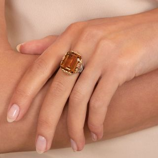 Art Deco Citrine Tri-Color Gold Ring