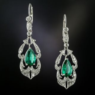 Colombian Emerald and Diamond Dangle Earrings - 4