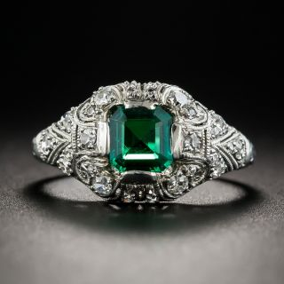 Art Deco Colombian Emerald and Diamond Ring - 1