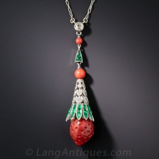 Art Deco Coral Emerald and Diamond Strawberry Necklace - 1