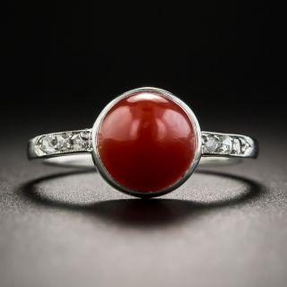 Art Deco Coral Platinum Diamond Ring  - 1