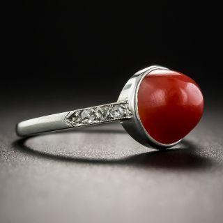 Art Deco Coral Platinum Diamond Ring