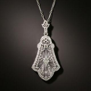Art Deco Crystal Quartz Diamond Pendant by Shiman - 2