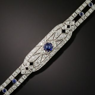 Art Deco Diamond and .88 Carat Round Cabochon Sapphire Bracelet - 2