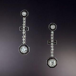 Art Deco Diamond and Black Enamel Dangle Earrings - 1
