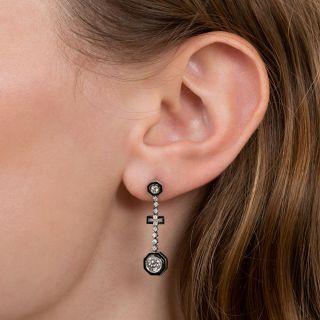 Art Deco Diamond and Black Enamel Dangle Earrings