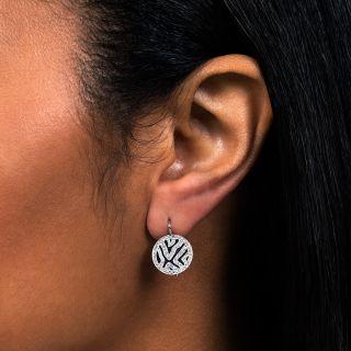 Art Deco Diamond and  Black Enamel Drop Earrings