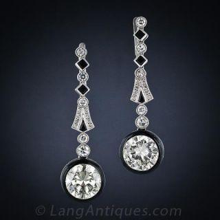 6.10 Carat Art Deco Diamond and Black Enamel Drop Earrings - 1