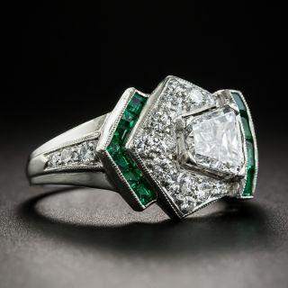 Art Deco Diamond and Calibre Emerald Ring - GIA D VS2