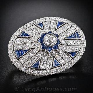 Art Deco Diamond and Calibre Sapphire Brooch - 1