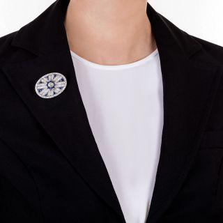 Art Deco Diamond and Calibre Sapphire Brooch