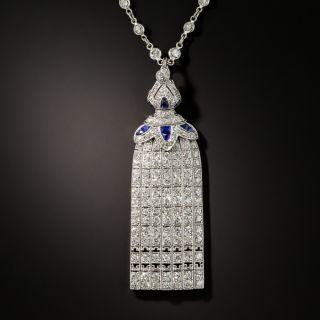 Art Deco Diamond and Calibre Sapphire Tassel Necklace - 2