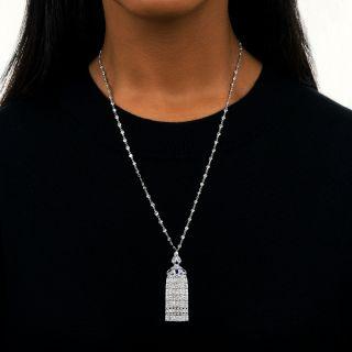 Art Deco Diamond and Calibre Sapphire Tassel Necklace
