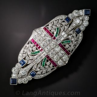Art Deco Diamond and Colorful Gem Double Clip-Brooch - 2
