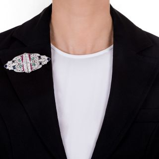 Art Deco Diamond and Colorful Gem Double Clip-Brooch