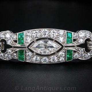 Art Deco Diamond and Emerald Bracelet - Shreve, Treat & Eacret Co.