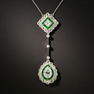 Art Deco Diamond and Emerald Double Drop Necklace - 3