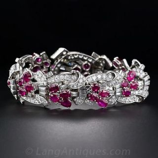 Art Deco Diamond and No Heat Ruby Bracelet