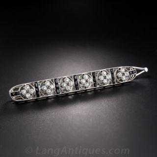 Art Deco Diamond and Onyx Barrette - 1