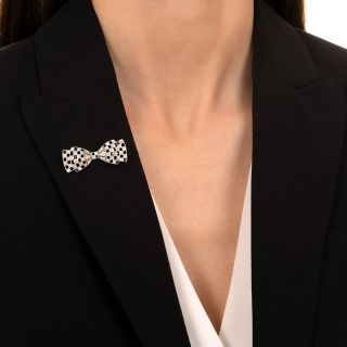 Art Deco Diamond and Onyx Bow Pin