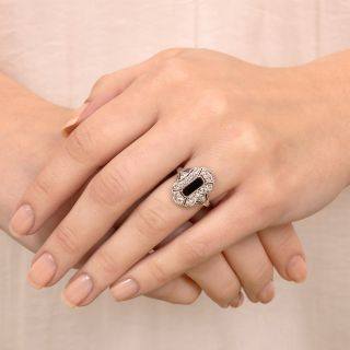 Art Deco Diamond and Onyx Dinner Ring