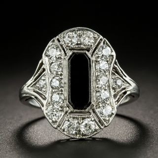 Art Deco Diamond and Onyx Dinner Ring - 1