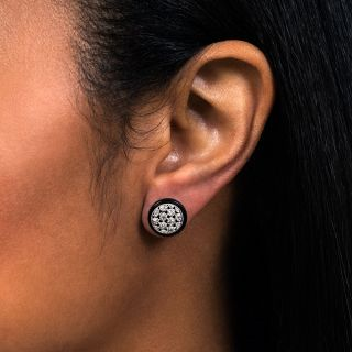 Art Deco Diamond and Onyx Ear Studs
