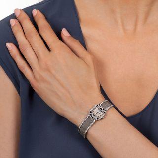 Art Deco Diamond and Onyx Mesh Watch