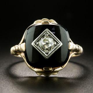Art Deco Diamond and Onyx Ring - 2