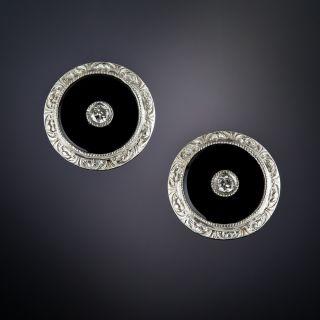 Art Deco Diamond and Onyx Stud Earrings