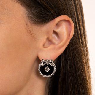 Art Deco Diamond and Onyx Wreath Earrings