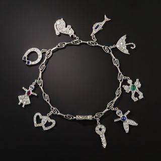 Art Deco Diamond and Platinum 9 Charm Bracelet - 2