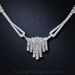 Art Deco Diamond and Platinum Fringe Necklace - 1