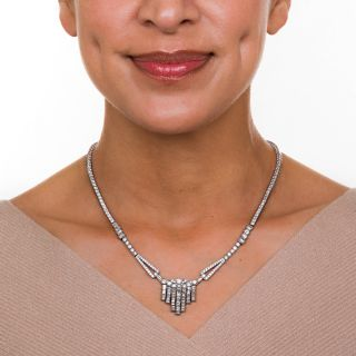 Art Deco Diamond and Platinum Fringe Necklace