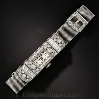 Art Deco Diamond and Platinum Mesh Ladies Wrist Watch