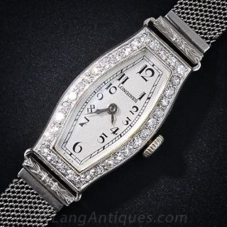 Art Deco Diamond & Platinum Mesh Watch