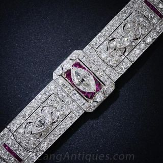 Art Deco Diamond and Ruby Bracelet - 1