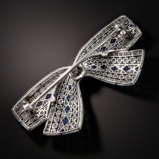 Art Deco Diamond and Sapphire Bow Brooch