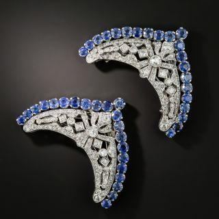 Art Deco Diamond and Sapphire Double Clip Brooch - 3