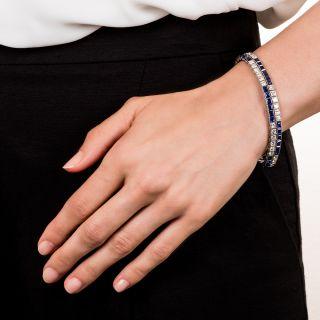 Art Deco Diamond and Sapphire Double Line Bracelet