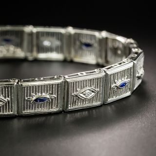 Art Deco Diamond and Sapphire Filigree Bracelet - 2