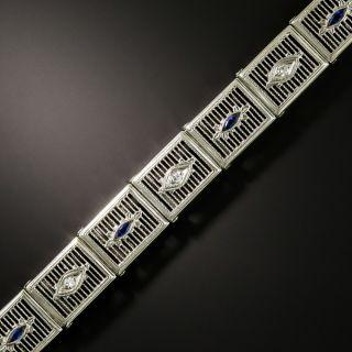 Art Deco Diamond and Sapphire Filigree Bracelet